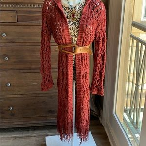 Rust Crochet boho cardigan with fringe and hoodie